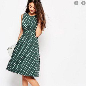 Emily & Fin Green Polka Dot Fit & Flare Dress